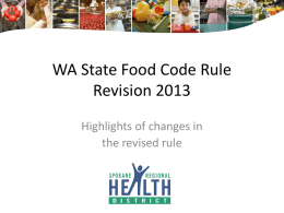 WA State Food Code Rule Revision 2013