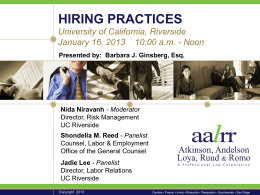 Hiring Practices Presentation - Risk Management