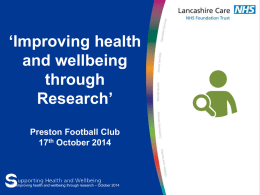 Developing clinical Research - Lancashire Care NHS Foundation