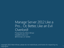 Manage Server 2012 Like An Evil Overlord