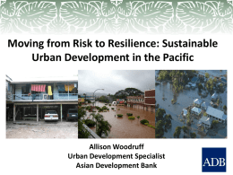 Sustainable Urban Development in the Pacific