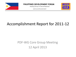 Accomplishment Report - Philippines Development Forum