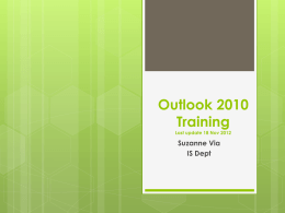 Outlook 2010 training 14 Nov 2012
