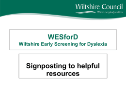 WESforD - Wiltshire Early Screening for Dyslexia presentation