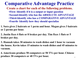 Comparative Advantage Practice Create a chart for