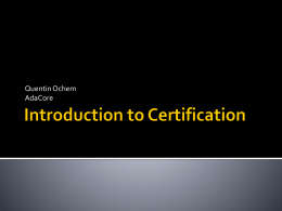 Introduction to Certification