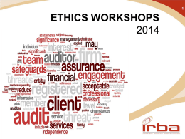 IRBA ETHICS WORKSHOPS 2014