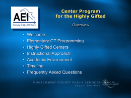 Center Programs for the Highly Gifted