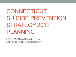 connecticut suicide prevention strategy 2013 planning