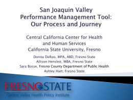 San Joaquin Valley Performance Management Tool