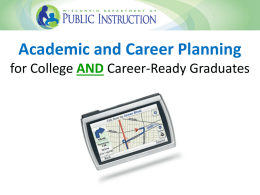 Career and Academic Planning in Wisconsin and Act 59
