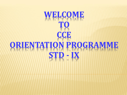 Welcome To CCE Orientation Programme