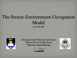 The Person-Environment-Occupation Model - Vula