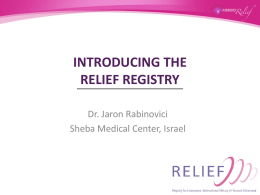 INTRODUCING THE RELIEF REGISTRY
