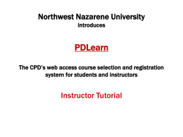 NNU*s PD Learn System - Northwest Nazarene University