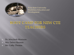 Boot Camp for New CTE Teachers - Association for Career and
