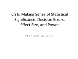 Ch 6: Making Sense of Statistical Significance: Decision Errors