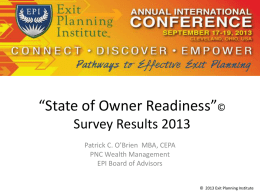 State of Owner Readiness Results Presentation