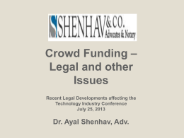 Crowd Funding – Legal and other Issues