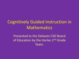 CGI PowerPoint - Cognitively Guided Instruction