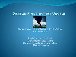 Disaster Preparedness Update