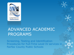 ADVANCED ACADEMIC PROGRAMS - Fairfax County Public Schools