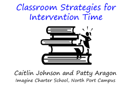 Classroom Strategies for Intervention Time PP 0511 - CHILD-Fans