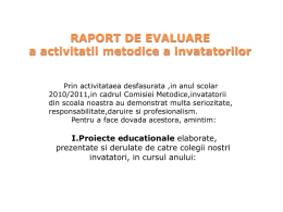 RAPORT DE activitate invatatoare AN SC 2010