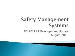 Safety Management Systems - Western Regional Gas Conference
