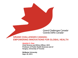GRAND CHALLENGES CANADA - Faculty of Health Sciences