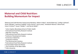 Maternal And Child Nutrition - Johns Hopkins Bloomberg School of