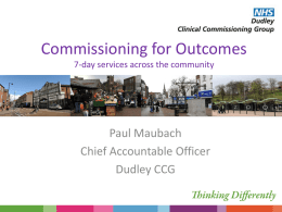 Commissioning of services and avoidable admissions