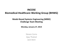 INCOSE Biomedical-Healthcare Working Group (BHWG)