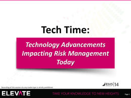 Technology Advancements Impacting Risk Management Today