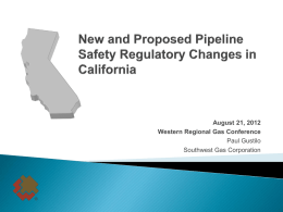 New Safety Plan - Western Regional Gas Conference