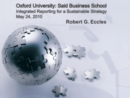 HBS Faculty Research Seminar Integrated Reporting for a