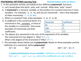 Polynomial Patterns Task Answers 1-5