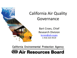 California Air Quality: Governance - B. Croes
