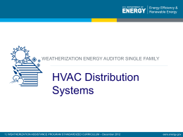 HVAC Distribution Systems - Weatherization Assistance Program