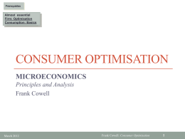 Consumer optimisation