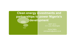 Clean Energy Investments and Partnerships to Power Development