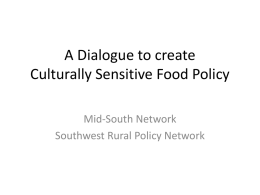 Creating Culturally Sensitive Food Policy
