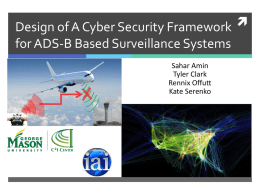Cyber Security of an ADS-B System - Center for Air Transportation