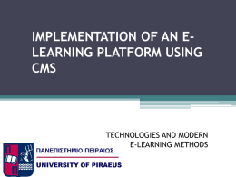 implementation of an e-learning platform using cms