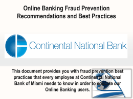 Online Banking General Guidelines