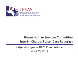 House Human Services Committee Interim Charge Presentation