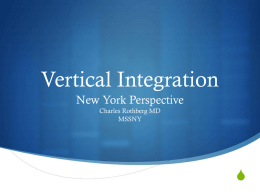 Vertical Integration - Organization of State Medical Association