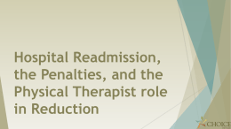 The Physical Therapist and Readmission