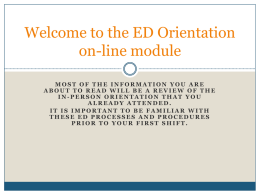 Welcome to ED orientation