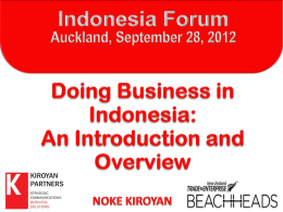 Doing Business in Indonesia - Asia New Zealand Foundation